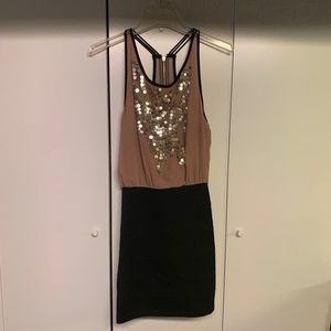 TopShop Bandage Dress w/ Sequinned Blush Blouse